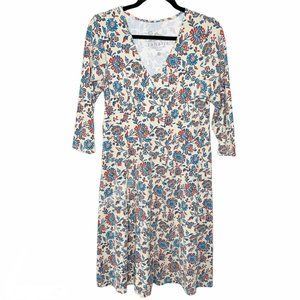 Sahalie Cotton Blend Beige Floral Casual Dress